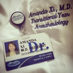 Dr. Amanda Xi white coat and badge