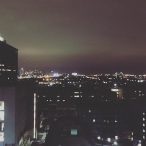 Detroit view at night from Ford