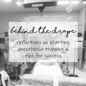 Behind the drape [reflections on starting anesthesia